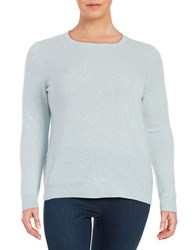 Lord And Taylor Plus Cashmere Crewneck Sweater Sky Blue Heather