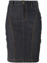 Burberry Brit Fitted Knee Length Denim Skirt Blue