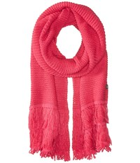 Echo Solid Fringy Muffler Pink Raspberry Scarves