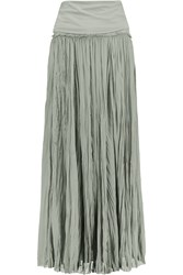 Donna Karan Silk Blend Georgette Midi Skirt Green
