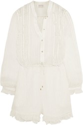 Zimmermann Mischief Metallic Crinkled Silk Georgette Playsuit Off White