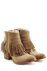 Zadig And Voltaire Fringed Suede Boots Beige