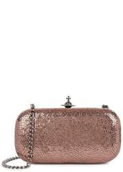 Vivienne Westwood Verona Rose Gold Leather Box Clutch Pink