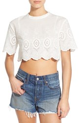 Women's Somedays Lovin 'Daisy' Embroidered Eyelet Crop Top