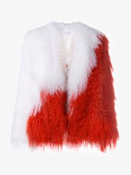 Saks Potts Heart Mongolian Lamb Fur Coat Multi Coloured White