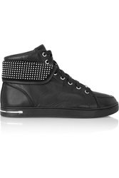 Michael Michael Kors Krista Studded Leather High Top Sneakers Black