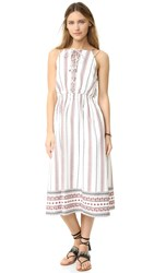 Moon River Border Print Lace Up Dress Off White