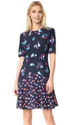 Rebecca Taylor Short Sleeve Print Mix Dress