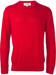 Ymc Perforated Crew Neck Sweater Red
