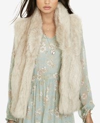Denim And Supply Ralph Lauren Faux Fur Vest Brown Cream Multi