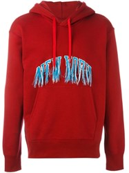 Doublet 'New York' Exposed Stitch Hoodie Red