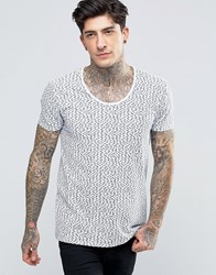 Scotch And Soda T Shirt With Scoop Neck In All Over Fish Print In Stretch Slim Fit In White White