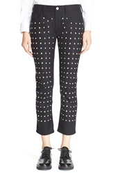 Junya Watanabe Studded Crop Ponte Knit Pants Black