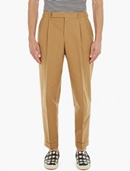 Paul Smith Taupe Pleat Front Cotton Chinos