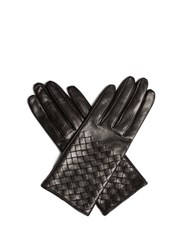 Bottega Veneta Intrecciato Leather Gloves Black