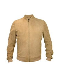 Forzieri Men's Light Brown Suede Zip Jacket Camel