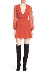 Alice Olivia Women's 'Cary' Deep V Neck Sheer Sleeve Fit And Flare Dress
