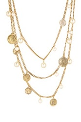 Yochi Design Multi Strand Pearl And Coin Necklace White
