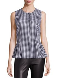 Saks Fifth Avenue Checked Ruffled Hem Blouse Gingham