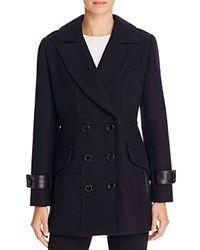 Trina Turk Chloe Leather Trim Pea Coat Navy