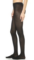 Wolford Fine Cotton Rib Tights Black