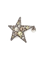 Alexander Mcqueen 'Lucky' Star Swarovski Crystal Brooch Metallic Yellow