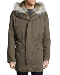 Yves Salomon Fur Trimmed Long Classic Parka Olive Green