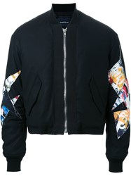 Almostblack Patched Arms Cropped Bomber Black