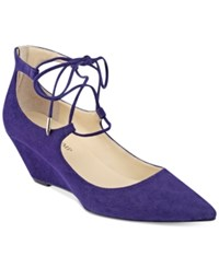 Ivanka Trump Winogrand Lace Up Wedge Pumps Women's Shoes Dark Purple