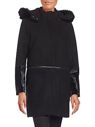 Zac Posen Parker Fur Trimmed Convertible Wool Blend Coat Onyx