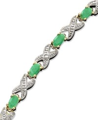 Victoria Townsend 18K Gold Over Sterling Silver Bracelet Emerald 3 Ct. T.W. And Diamond Accent Xo