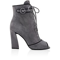 Prada Women's Piped Lace Up Ankle Boots Light Grey