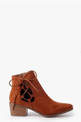 Boohoo Ghillie Side Tie Boots Tan