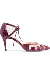 Bionda Castana Alexa Snake Effect Leather And Mesh Pumps Purple
