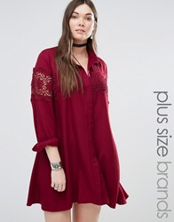 Alice And You Lace Insert Folk Shirt Dress Burgundy Red