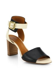 Chlo Bicolor Leather Buckle Sandals Ivory Black