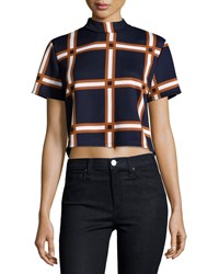 Romeo And Juliet Couture Plaid Mock Neck Crop Top Navy Multi