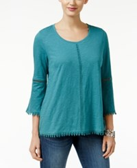 Styleandco. Style Co. Crochet Trim Bell Sleeve Top Only At Macy's Green Nectar