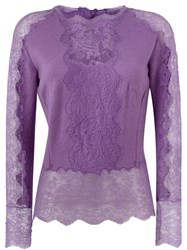 Ermanno Scervino Lace Insert Sweater Pink And Purple