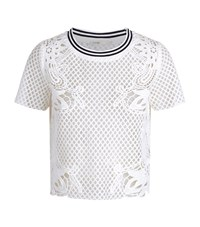Maje Tracy Mesh Lace Top Female White