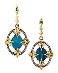 Armenta Fleur De Lis Detailed Oval Diamond And Opal Earrings