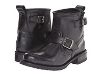 Frye Engineer Shearling Short Black Recycled Rubber Shearling Cowboy Boots