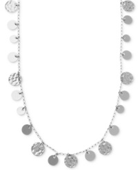 Nine West Necklace Silver Tone Hammered Disc Strand Necklace