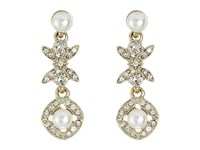 Oscar De La Renta Lattice Pearl Small Drop P Earrings Light Gold Earring