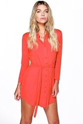 Boohoo Button Through Collar Shirt Dress Poppy