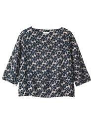 Toast Painted Flower Wool Challis Top Navy