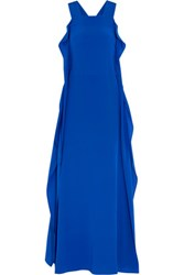 Zeus Dione Olympia Ruffled Silk Maxi Dress Royal Blue