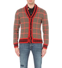 Gucci Houndstooth Tweed Cardigan Red