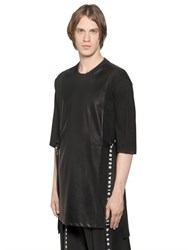 D By D Faux Leather And Cotton Jersey T Shirt