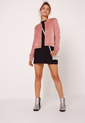 Missguided Velour Bomber Jacket Pink Pink